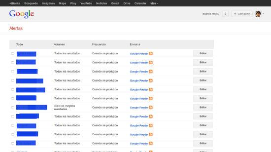Interfaz de administración de las Alertas de Google
