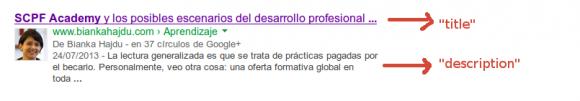 """""""title"""" y """"description"""" en la SERP"""