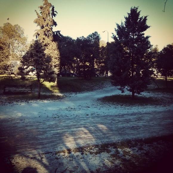 """Restos de la """"gran nevada"""" de Madrid de 2015."""